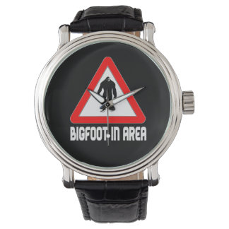 Bigfoot in Area Warning Triangle Sign Wristwatch