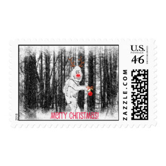 Bigfoot in the forest Christmas stamp