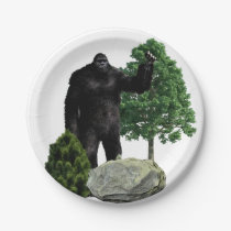 Bigfoot in the forest paper plate