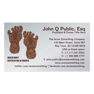 Bigfoot Investigations Sasquatch Contact Cards Double-Sided Standard Business Cards (Pack Of 100)