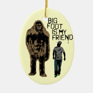 Bigfoot Is My Friend Double-Sided Oval Ceramic Christmas Ornament