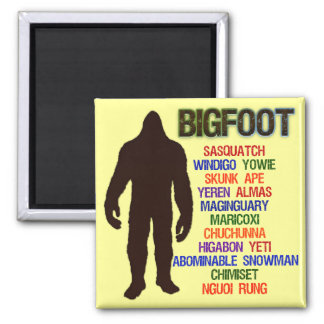 Bigfoot Names 2 Inch Square Magnet