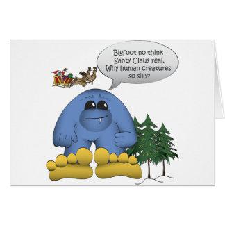 Bigfoot no cree en Santa Tarjeta De Felicitación