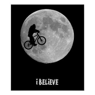 Bigfoot on bike with moon background print
