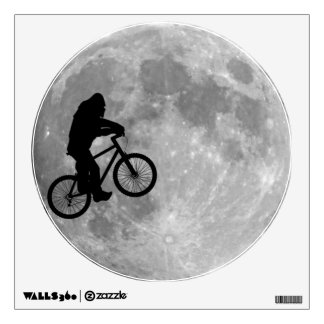 Bigfoot on bike with moon background wall decal