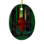 Bigfoot Double-Sided Oval Ceramic Christmas Ornament