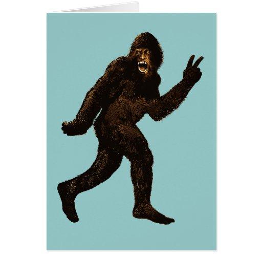 Bigfoot Peace Sign Greeting Cards