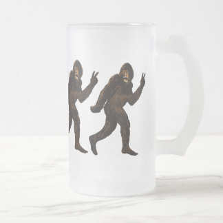 Bigfoot Peace Sign Frosted Glass Beer Mug