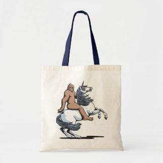 Bigfoot que monta un unicornio bolsa tela barata