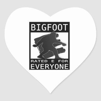 Bigfoot Rated 'E' For Everyone Heart Sticker