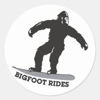 Bigfoot Rides! Classic Round Sticker