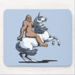 """Bigfoot Riding a Unicorn Mouse Pad<br><div class=""""desc"""">Bigfoot,  aka: Sasquatch,  riding a white unicorn named Eunice. Vector graphic tablet drawing,  color,  on t-shirts,  hoodies,  cards,  gifts.</div>"""