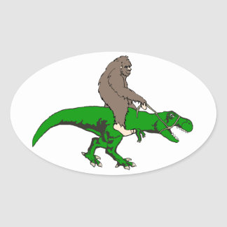 Bigfoot riding T Rex Oval Sticker