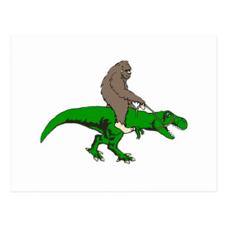 Bigfoot riding T Rex Postcard