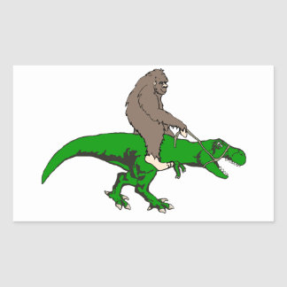 Bigfoot riding T Rex Rectangular Sticker