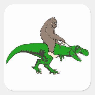 Bigfoot riding T Rex Square Sticker