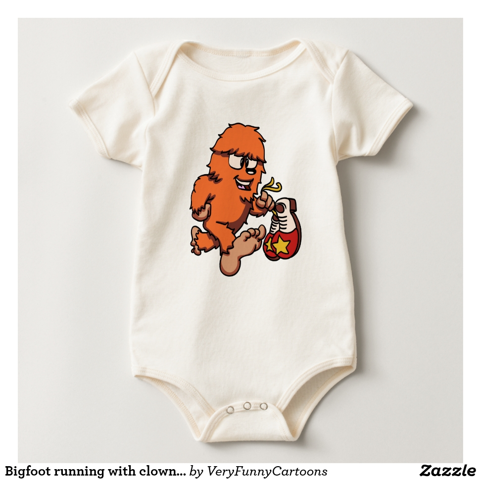 Bigfoot running with clown shoes baby bodysuit - Adorable Baby Bodysuit Designs