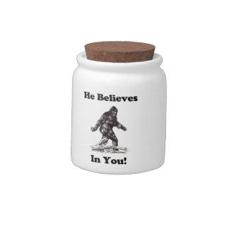 Bigfoot/Saquatch - He Believes In You Candy Jar