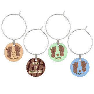 Bigfoot Sasquatch Cryptid Yeti Party Bling Set Two Wine Glass Charms