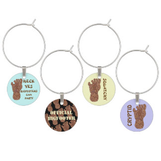 Bigfoot Sasquatch Cryptid Yeti Party Bling Set Wine Glass Charms