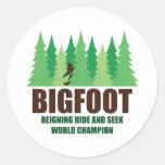 Bigfoot Sasquatch Hide and Seek World Champion Classic Round Sticker