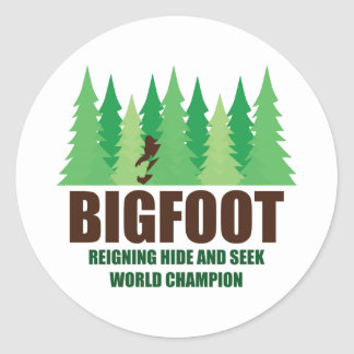 Bigfoot Sasquatch Hide and Seek World Champion Classic Round Sticker