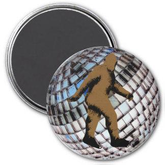 Bigfoot Sasquatch on Disco Ball 3 Inch Round Magnet