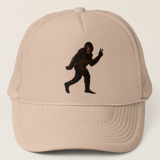 Bigfoot Sasquatch Peace Trucker Hat