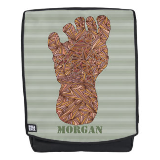 Bigfoot Sasquatch Track Sage Green Add Your Name Backpack