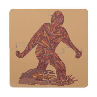 Bigfoot Sasquatch Yeti Cryptid Creature Geek Fun Puzzle Coaster