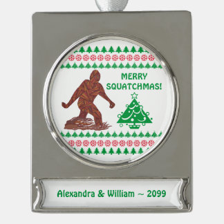 Bigfoot Sasquatch Yeti Cryptid Funny Christmas Silver Plated Banner Ornament