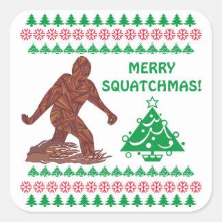 Bigfoot Sasquatch Yeti Cryptid Funny Christmas Square Stickers