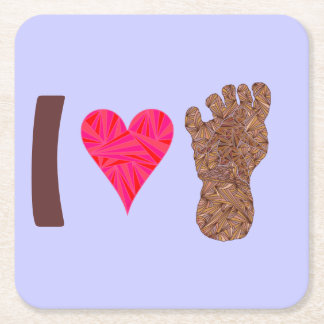 Bigfoot Sasquatch Yeti Cryptid I Heart Bigfoot Fun Square Paper Coaster