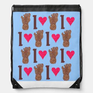 Bigfoot Sasquatch Yeti Cryptid I Heart Bigfoot Drawstring Backpacks