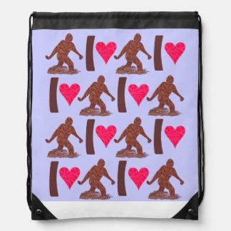 Bigfoot Sasquatch Yeti Cryptid I Heart Bigfoot Drawstring Bag