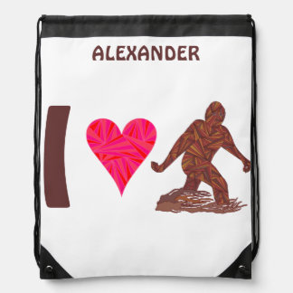 Bigfoot Sasquatch Yeti Cryptid I Heart Bigfoot Drawstring Backpack