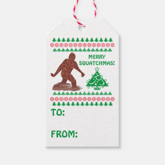 Bigfoot Sasquatch Yeti Cryptid Merry Squatchmas Pack Of Gift Tags