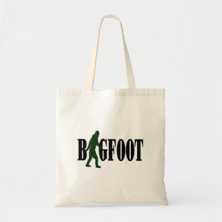 Bigfoot text & green squatch graphic tote bag