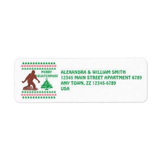 Bigfoot Walking Merry Sasquatchmas Funny Holiday Label