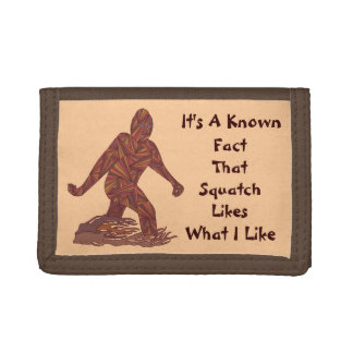 Bigfoot Walking Sasquatch Known Squatch Facts Trifold Wallets