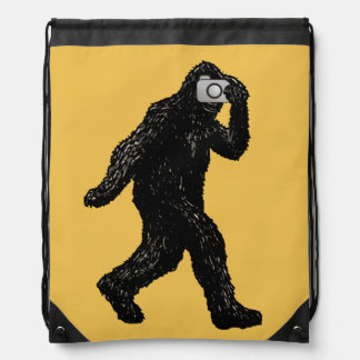 Bigfoot with Camera - Funny Photography Selfie Drawstring Bag
