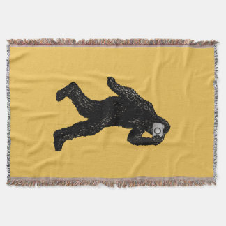 Bigfoot with Camera - Funny Photography Selfie Throw Blanket