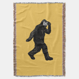 Bigfoot With Camera - Funny Photography Throw Blanket