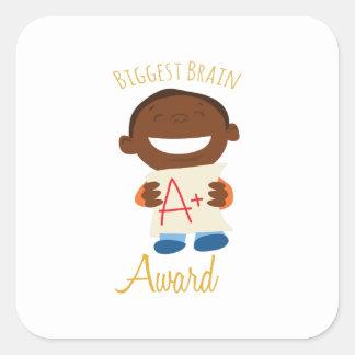 Biggest Brain Award Square Sticker