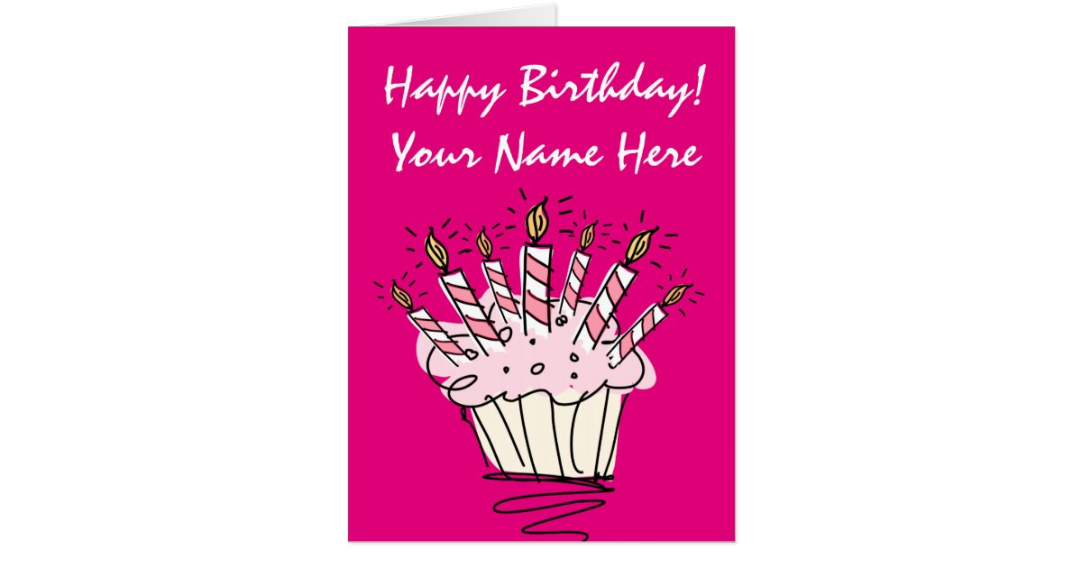 Biggest oversized Birthday card with pink cupcake – Oversized Birthday Card