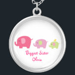 """Biggest Sister Cute Elephants Necklace<br><div class=""""desc"""">I came up with this design when a friend had her third child.  Instead of a middle sister we called her the big sister,  then the oldest was called the biggest sister.  This design has three cute elephants-small,  medium and large.  A bird rides on the smallest elephants back.</div>"""