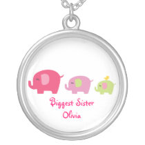 Biggest Sister Cute Elephants Necklace