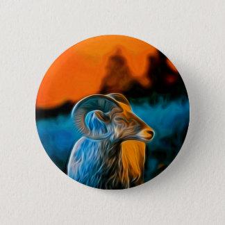 Bighorn at sunset pinback button