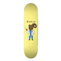 Bighorn sheep doctor cartoon illustration skateboard
