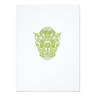 Bighorn Sheep Lion Tree Coat of Arms Celtic Knot Card